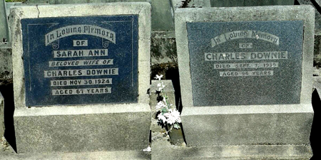 Gravestones of Sarah Ann Goodyer and Charles Downie Murchison NZ